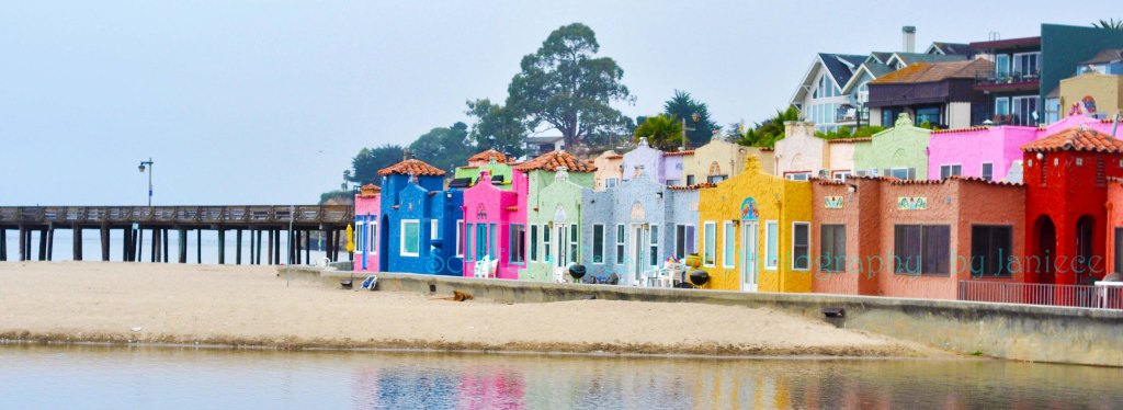 10 X 3.5 Vibrant and Colorful Capitola Beach Houses on Pacific Ocean, Capitola California FIne Art Photography Wall Art $18.00